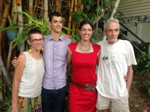In our backyard with splendid friends Ajarna who's studying Geology at UQ, and Rohani who - that day - had graduated as a doctor along with her partner Brad. These beautiful young people have all visited Keith while in the Royal. For regular blog readers, Ajarna and Rohani belong-em Roy and Jo)