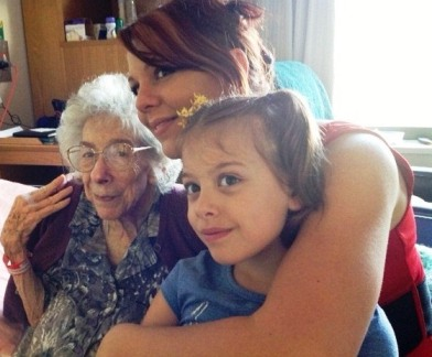 Nancy celebrating her 86th birthday this week with grand-daughter Cassie and great grand-daughter Emily.